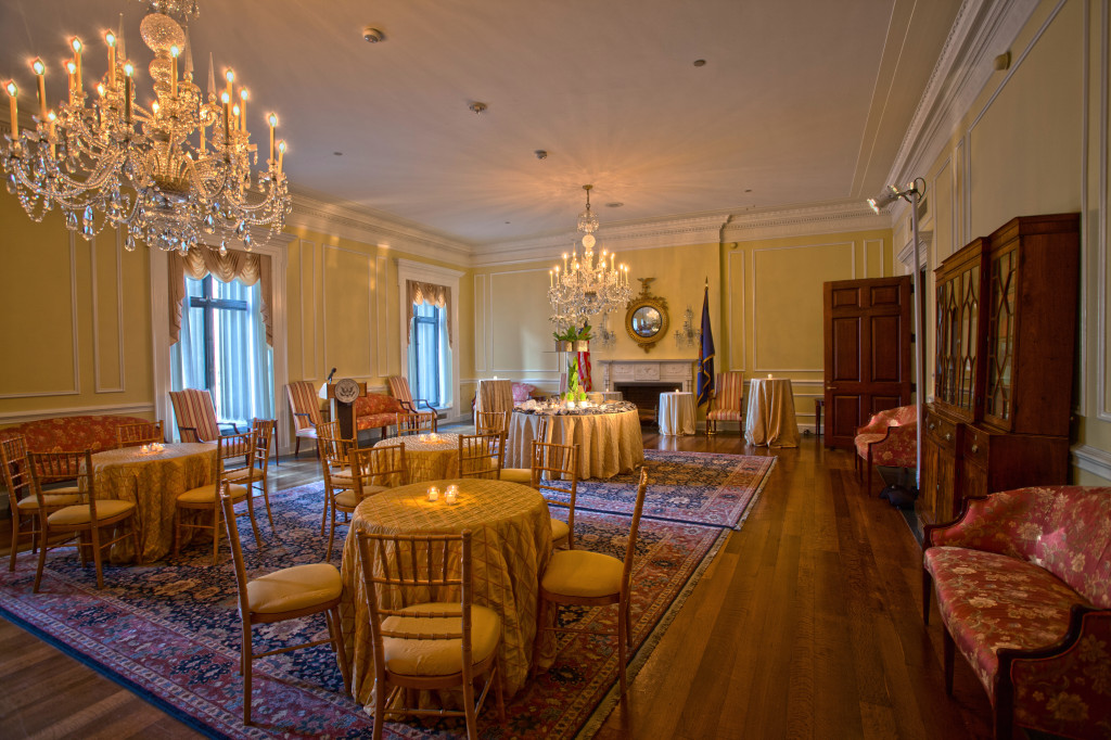 The Archivist's Reception Room set for an intimate reception