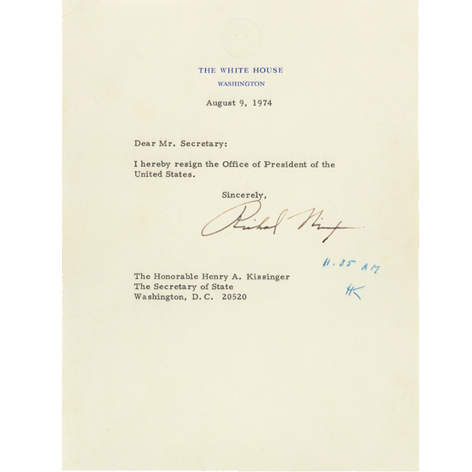 Richard Nixon\'s Resignation Letter and Gerald Ford\'s Pardon