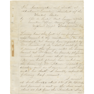 Report concerning the death of Abraham Lincoln