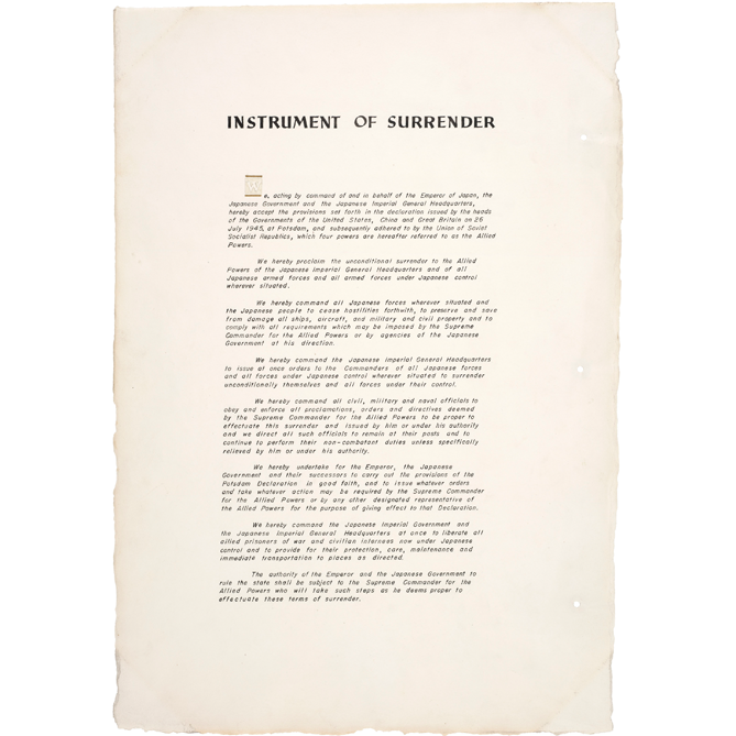 Japanese Instrument of Surrender, 1945