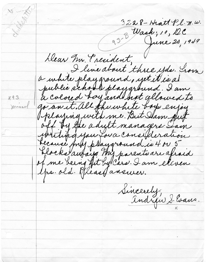Letter from Andrew S. Evans to President Harry S. Truman, 6-20-1949 (Archives ID 7542723)