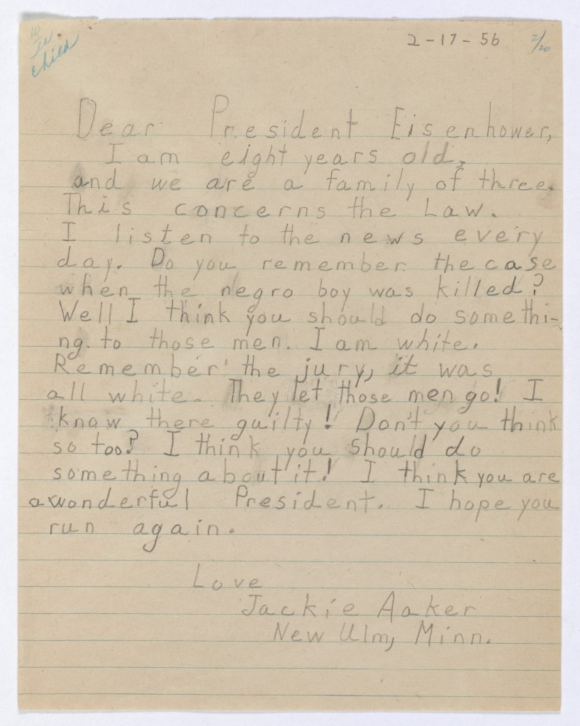 Letter from Jackie Aakers to President Eisenhower 02-17-1956