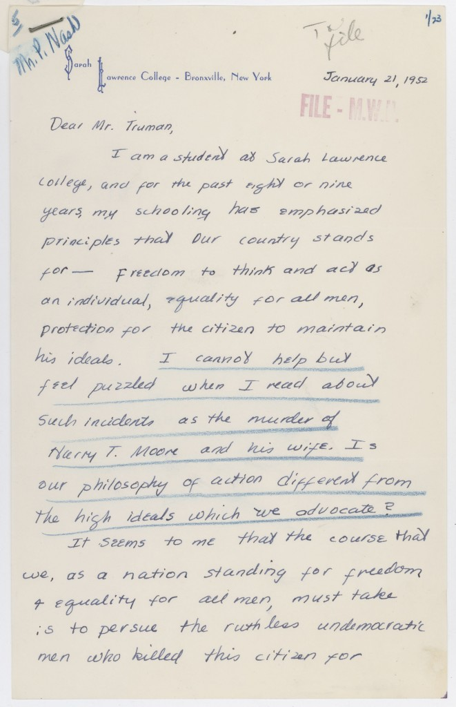 Letter from Miss Arden Rappaport to Harry S. Truman Regarding Harry T. Moore, 1-21-1952 (Archives ID 6050580) (1)