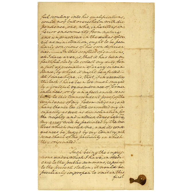 george washington first inaugural address