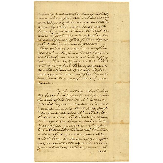 George Washington's First Inaugural Address, 1789