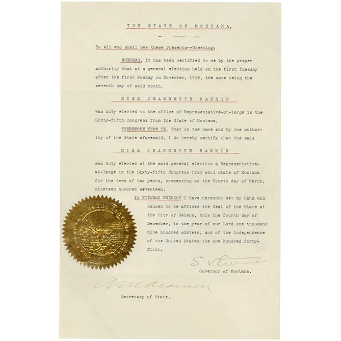 Credentials of Jeannette Rankin, the First Congresswoman