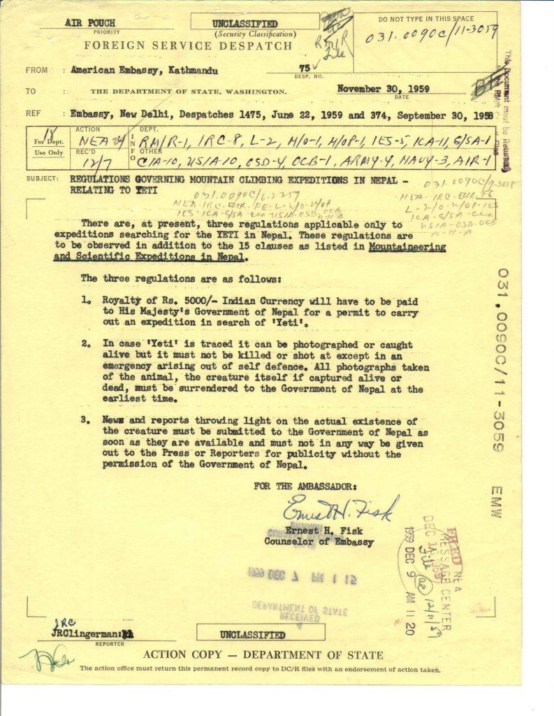 Yeti Sightings and Rules, circa 1959