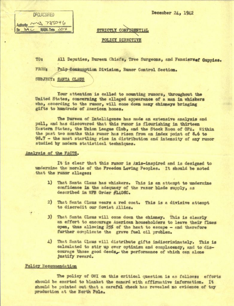 "World War II Holiday Humor: Office of War Information ""Santa"" Memo"
