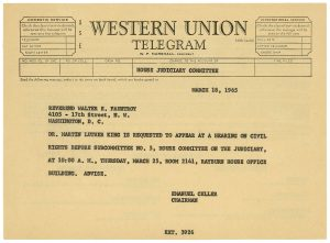 Telegram Requesting Dr. Martin Luther King, Jr.'s Testimony before the House of Representatives' Judiciary Committee on the Proposed Voting Rights Act, March 18, 1965
